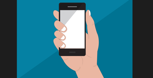 hands holding mobile phone vector illustration